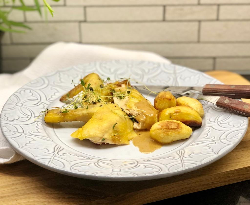 Recept coquelet vårkyckling citron mandelpotatis gräddsås